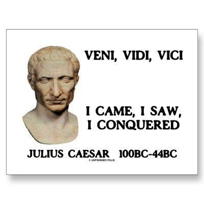 Veni, Vidi, Vici I Came, I Saw, I Conquered Postcard