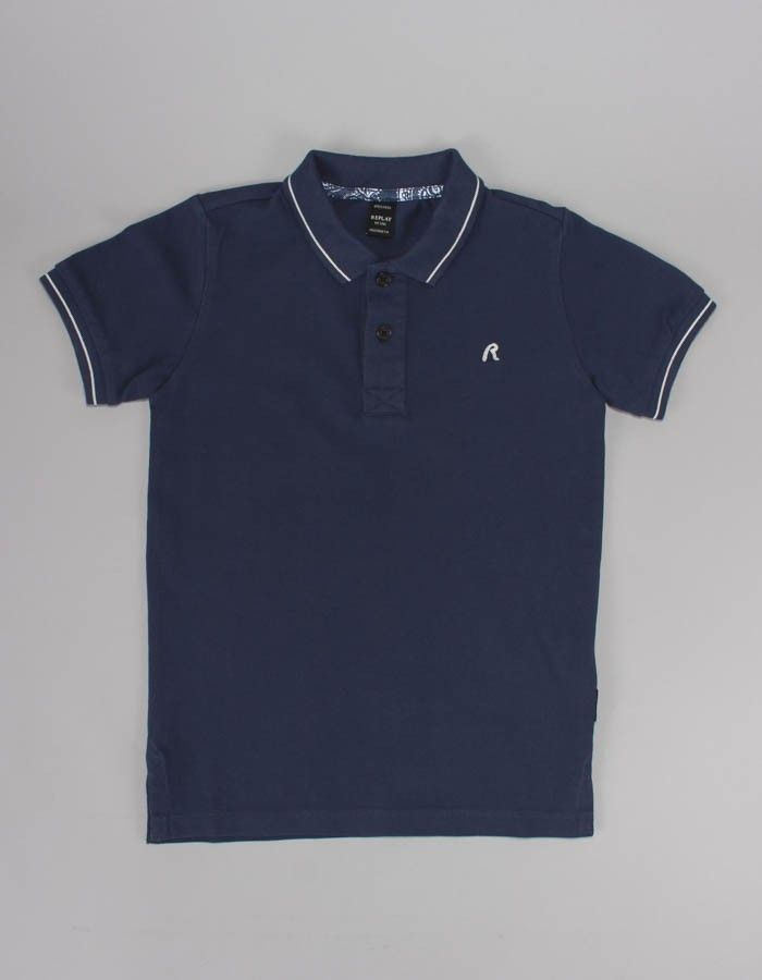 e6e35d8ca Replay Navy Small Logo Polo Shirt | Accent Clothing | Sale Juniors ...