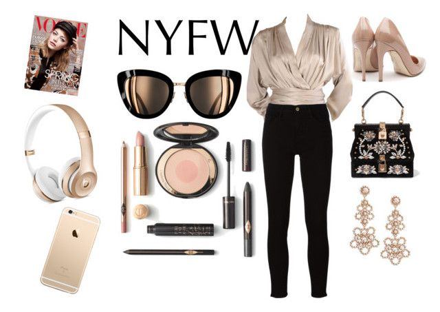 """Nyfw"" by kishaniya ❤ liked on Polyvore featuring Yves Saint Laurent, Rupert Sanderson, Dolce&Gabbana, Frame and Kate Spade"