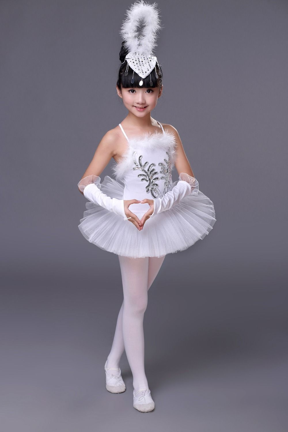 7e95df4f5469 Girls White Swan Lake Ballet Costumes Children Girl Dance Clothing Kids  Sequin Feather Ballet Dress Children Dance Wear YL361