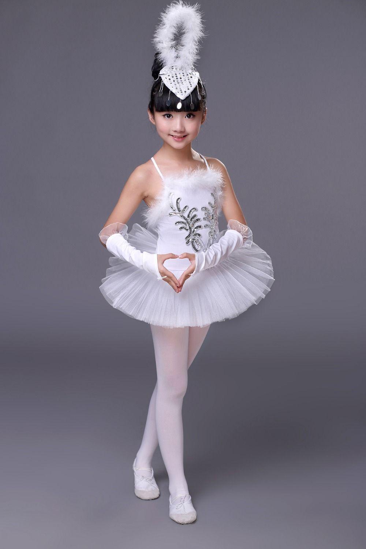 05ed756fa988 Girls White Swan Lake Ballet Costumes Children Girl Dance Clothing ...