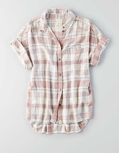 08f27b6a50ea AE Short Sleeve Plaid Button-Down Shirt