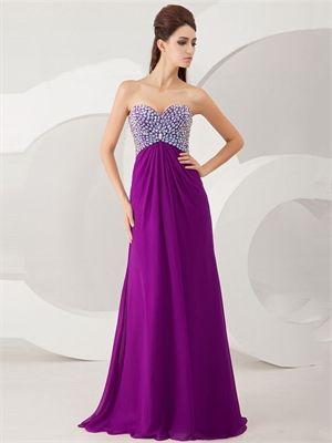 3bbef1ab053 Elegant Strapless Beaded Bodice Cutout Back Chiffon Prom Dress PD2898
