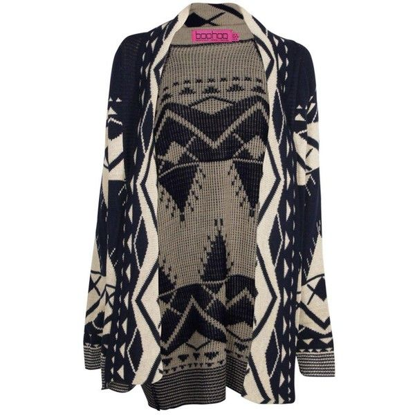 Boohoo Sophie Aztec Cardigan | Boohoo ($19) ❤ liked on Polyvore featuring tops, cardigans, aztec pattern cardigan, cardigan top, aztec print cardigan, aztec cardigans and aztec top