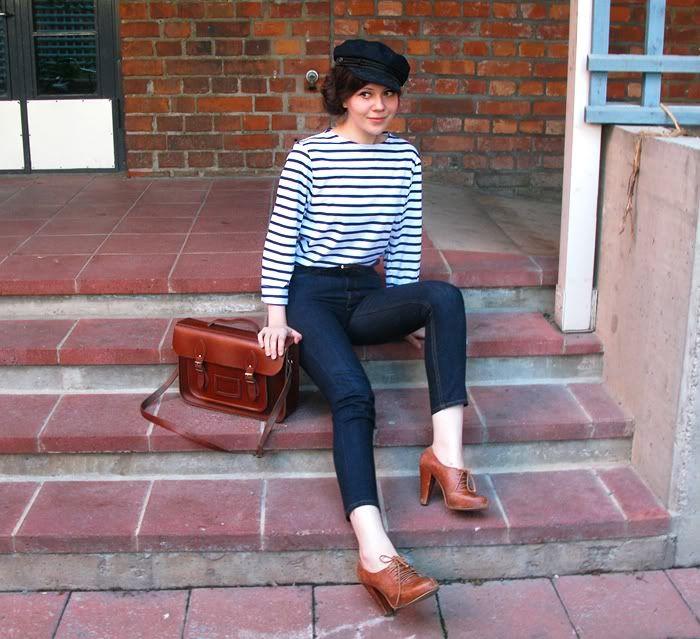 Breton Shirt, High-Waisted Skinnies, & Oxford Heels