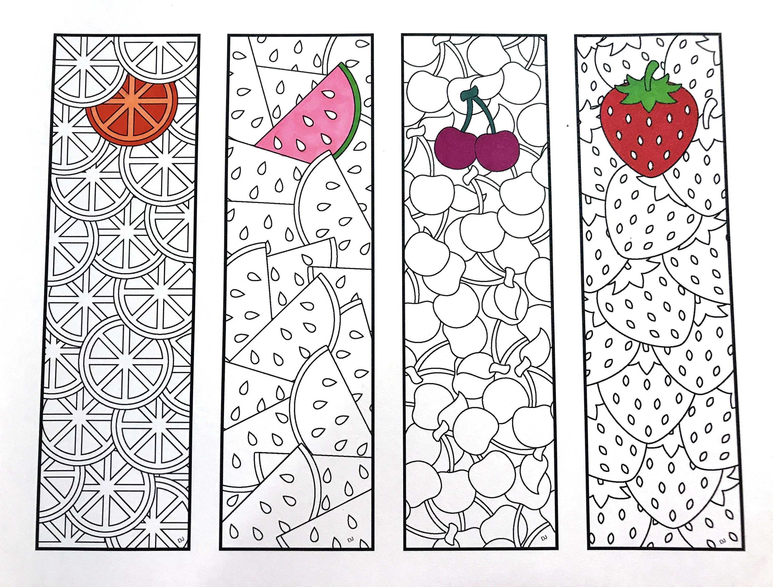 photo about Printable Bookmarks Pdf known as Fruit Bookmarks - PDF Zentangle Coloring Website page Printable