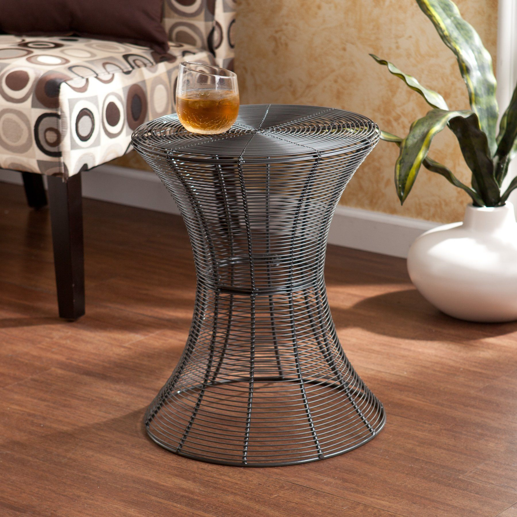 - Metal Spiral Accent Table - Silver Metal Accent Table, Round Metal Accent  Table, Round Metal Table