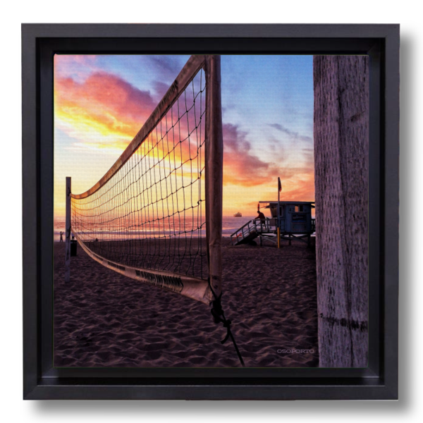 (note: a Pinterest error may show this as out of stock - that is incorrect; it is in stock.)  Net Gain canvasbox print | El Porto, CA | #osoporto #beach #volleyball #homedecor #shopifypicks #california #manhattanbeach