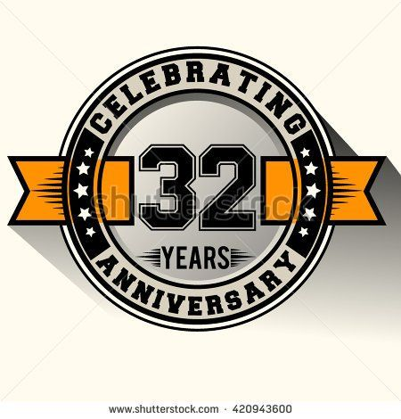 Celebrating 32nd Anniversary Logo 32 Years Sign With Ribbon Retro Design