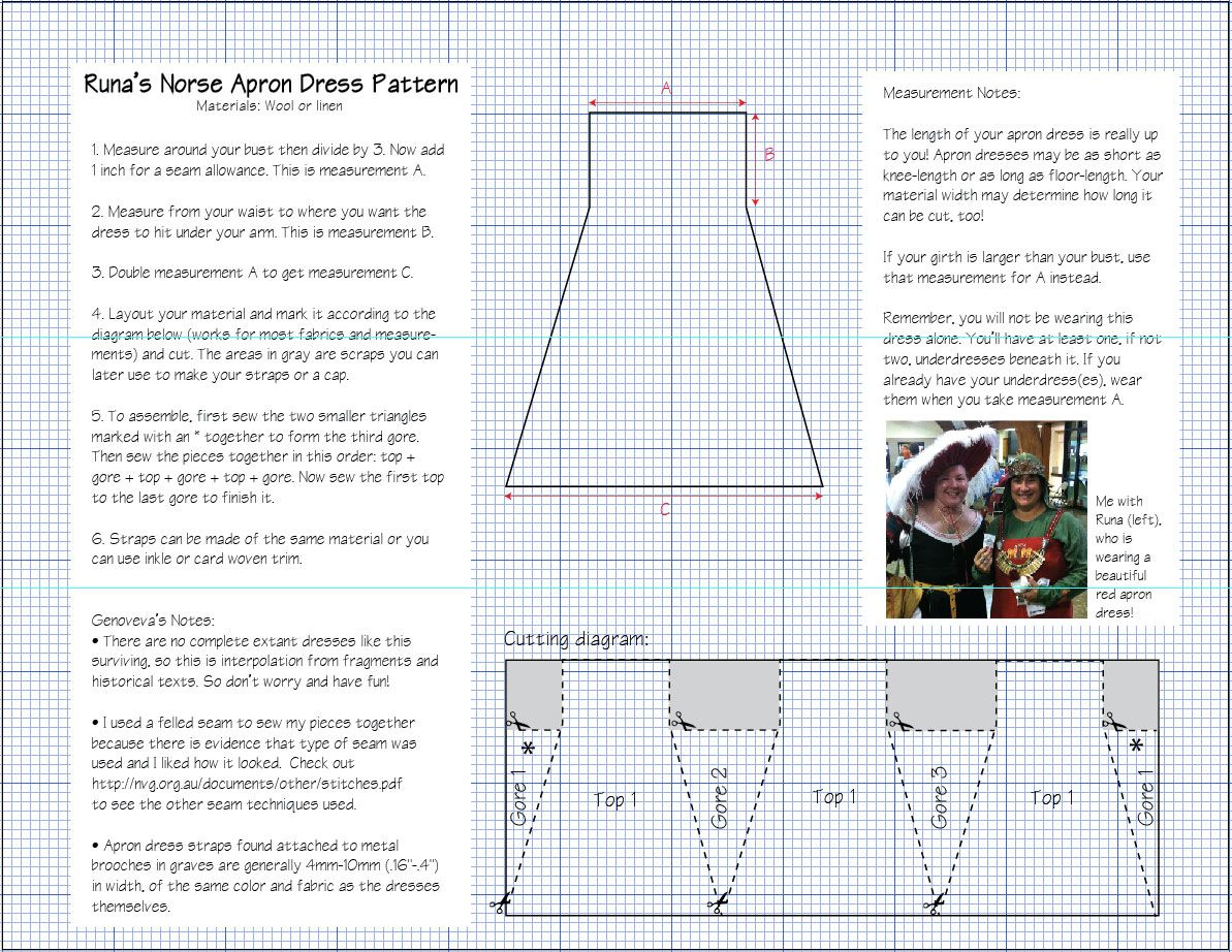 Norse Apron Dress (Smokkr): Instructions and Pattern (Easy ...