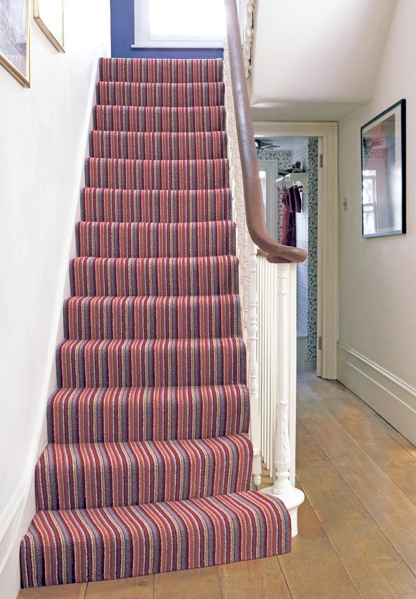 Crucial trading stripe carpet hallway pinterest for Hall stairs carpet ideas