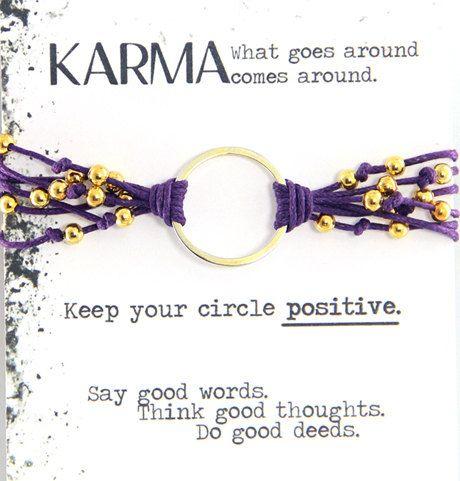 Dana Karma Bracelet In Purple Cord And Gold Metal Accents Yoga Bohemian