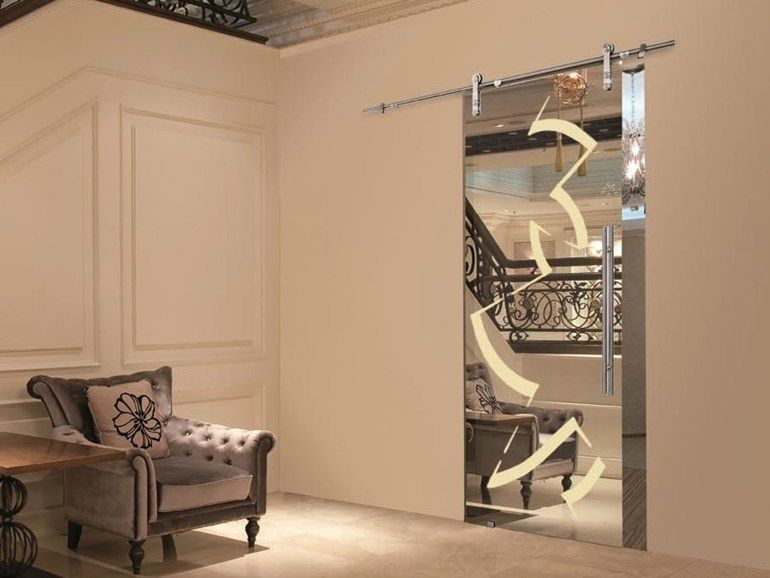 Puerta corrediza de vidrio efecto espejo sin marco for Espejos ovalados sin marco