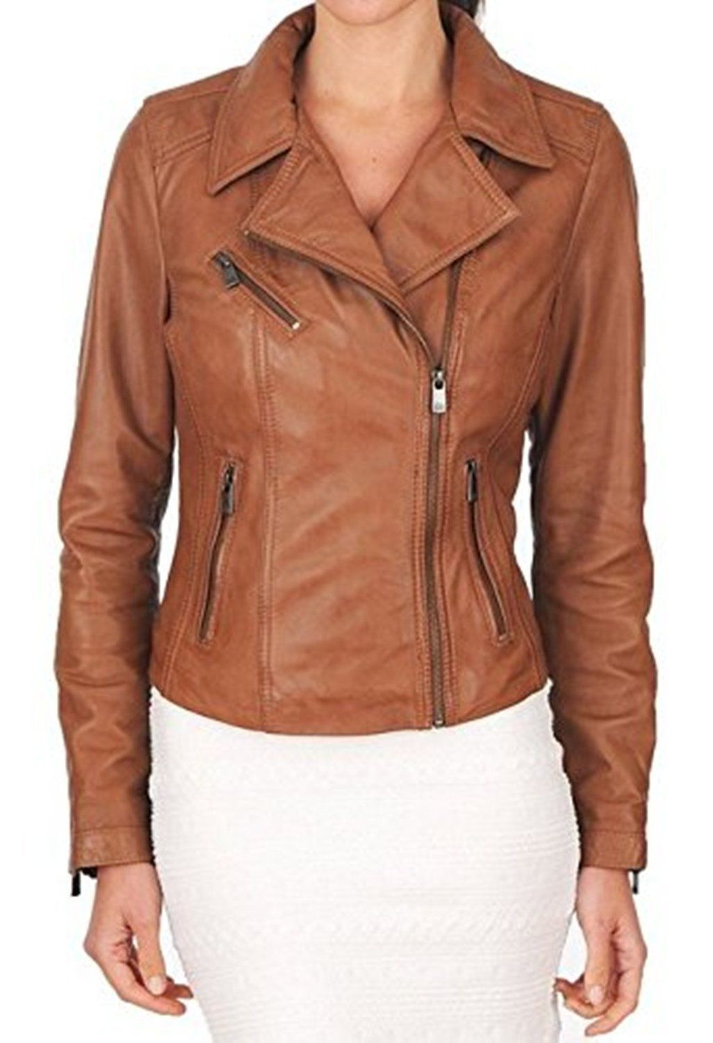 Cool amazing new womenus leather jacket soft real lambskin biker