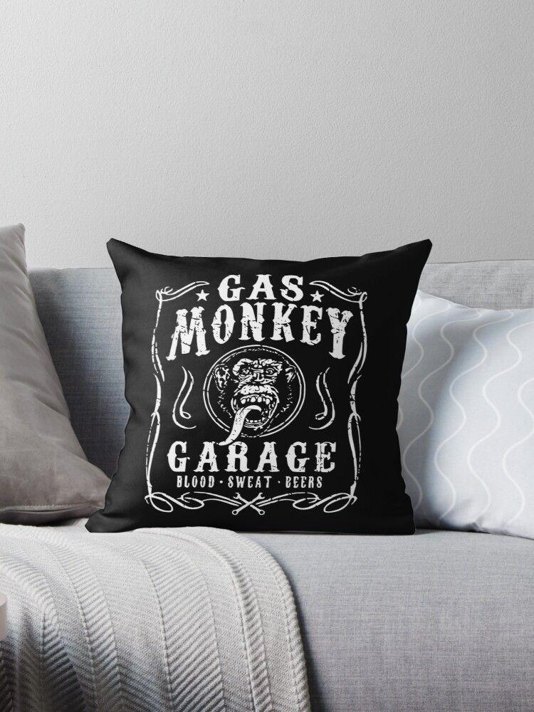 'Gas Monkey -Garage Texas - Blood- Sweat-Beers- Affe ' Dekokissen von RS-Customstylez