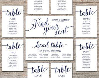 Wedding Seating Chart Template Diy Cards Editable Printable