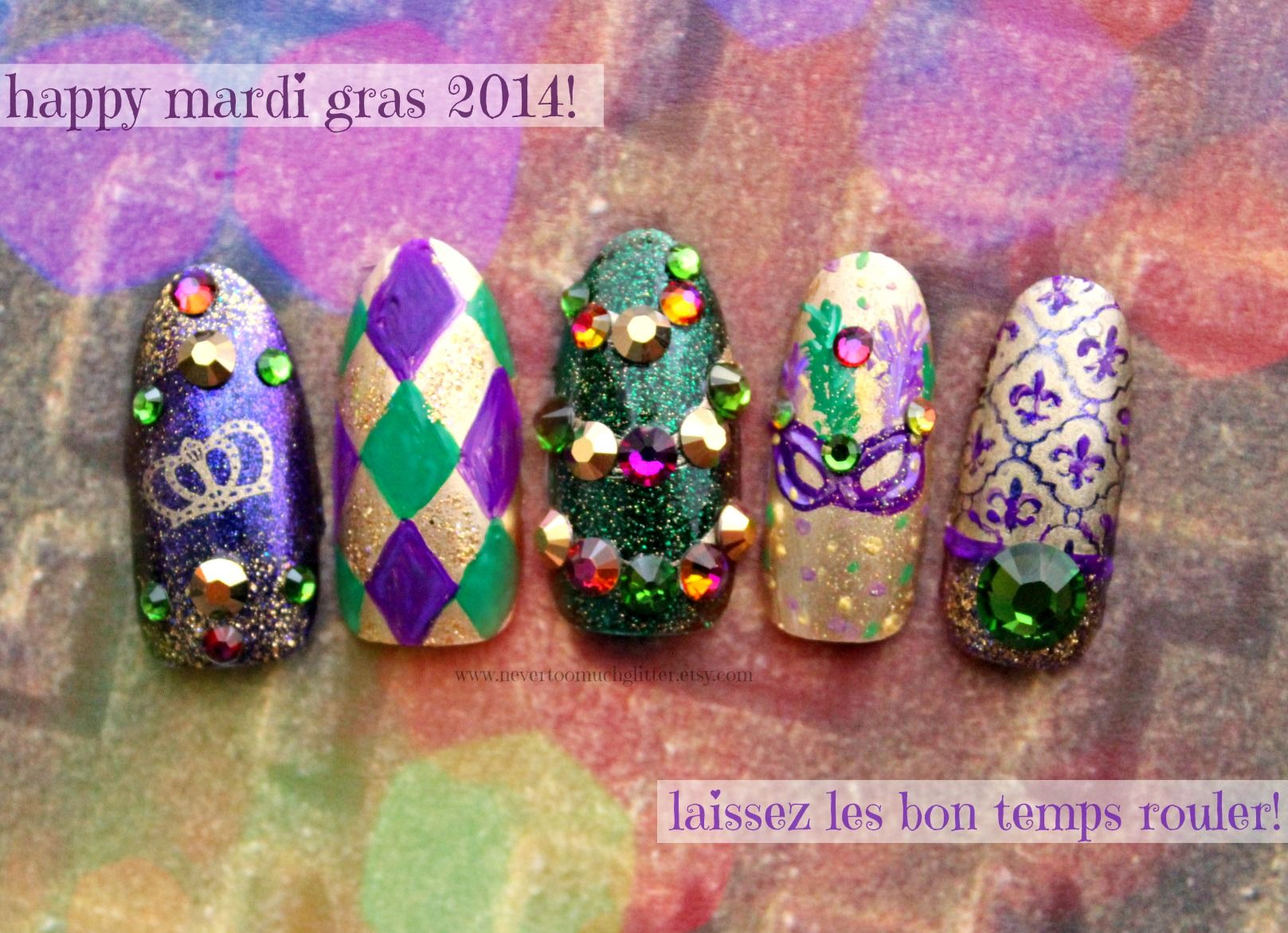 Happy Mardi Gras 2014! | Mardi gras, Holiday nail art and Nail nail