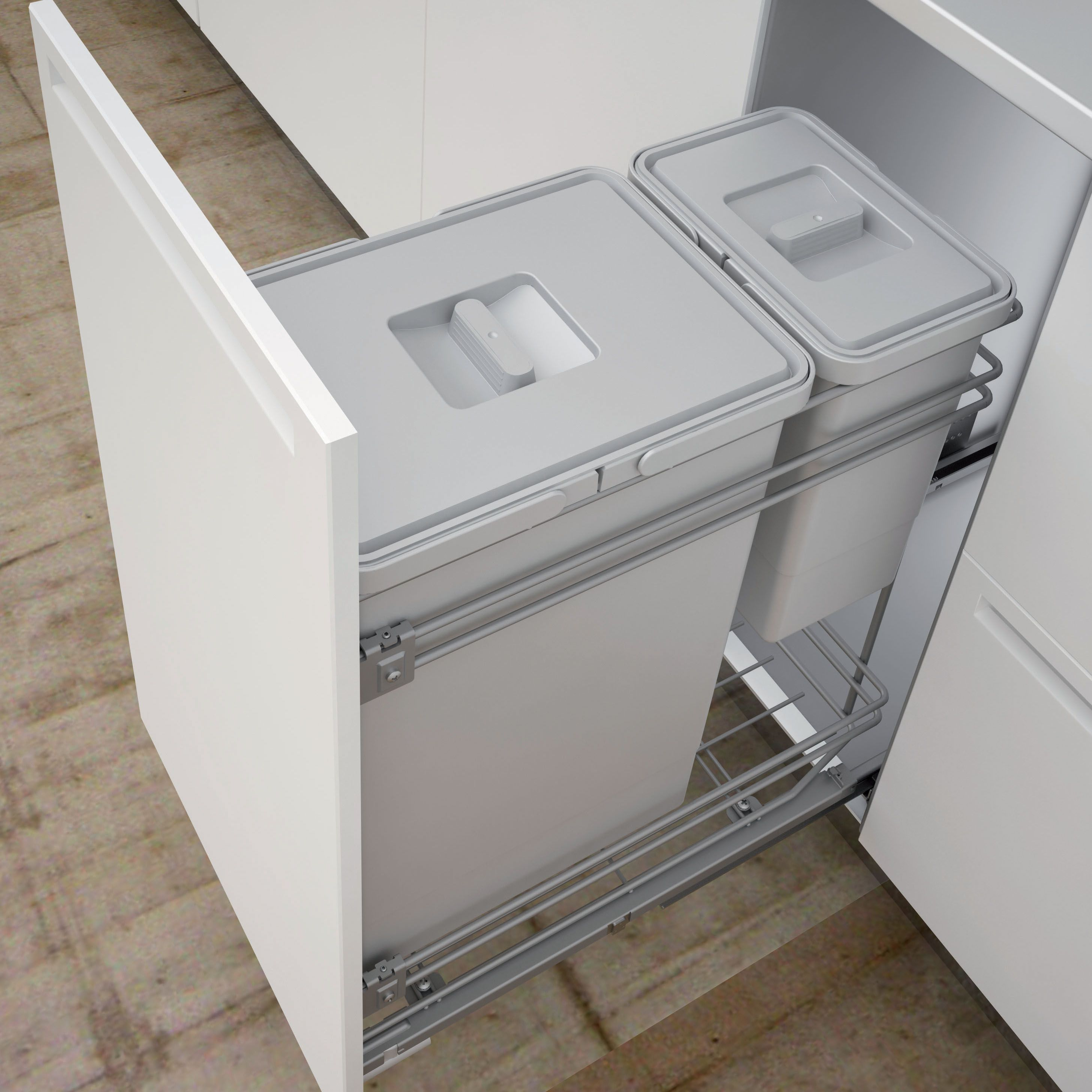 Best It Kitchens 300Mm Integrated Pull Out Kitchen Bins 30L 400 x 300