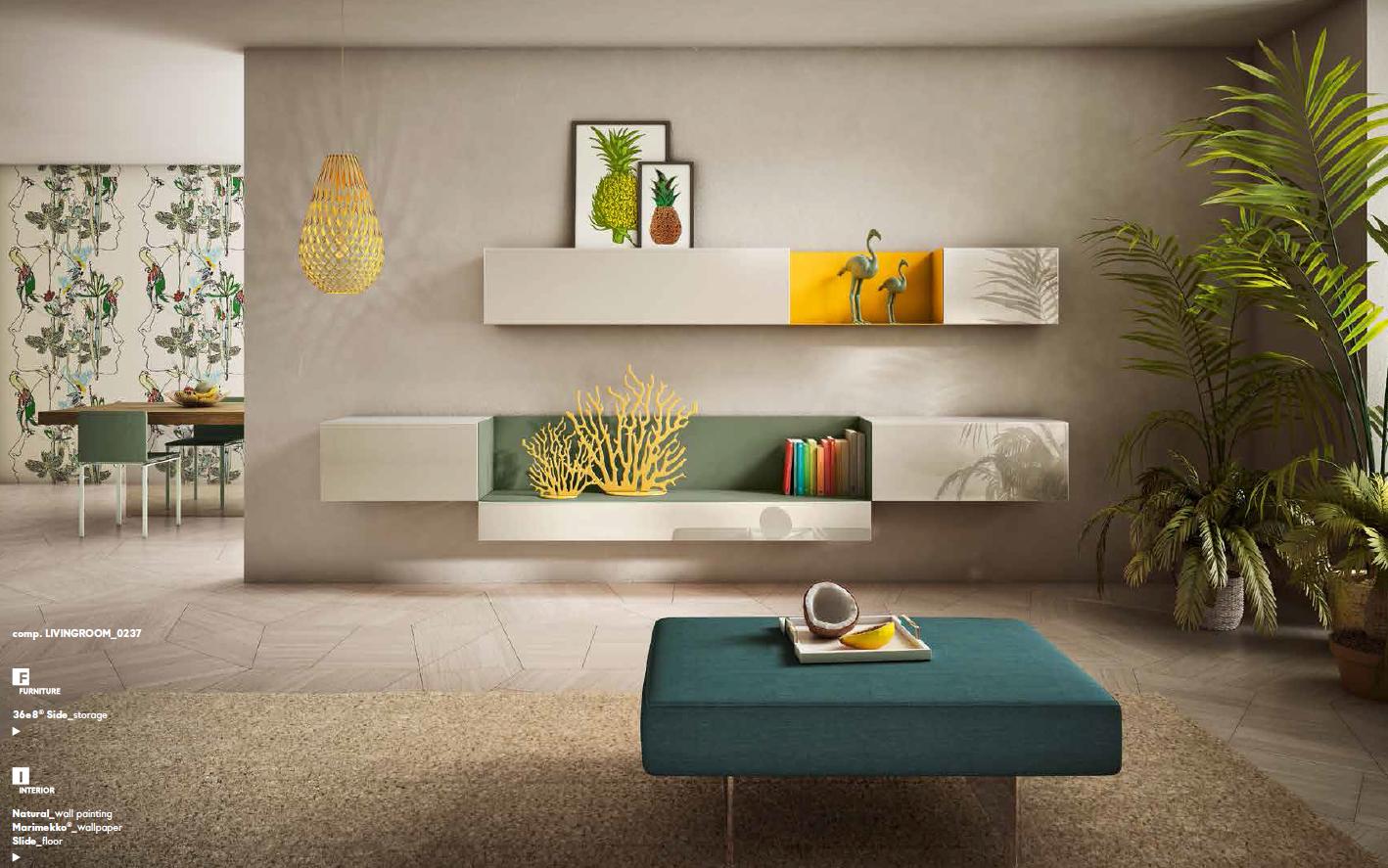 Composition Meuble Tv Avec Niche En Verre Colore Salvia Et Pouf Air En Lin Mettezduvertdansladeco Lago Ver Mobilier De Salon Mobilier Design Canape Design