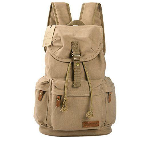 LVMD Travel Laptop Backpack Canvas School Backpack Casual Bag Lightweight Rucksack