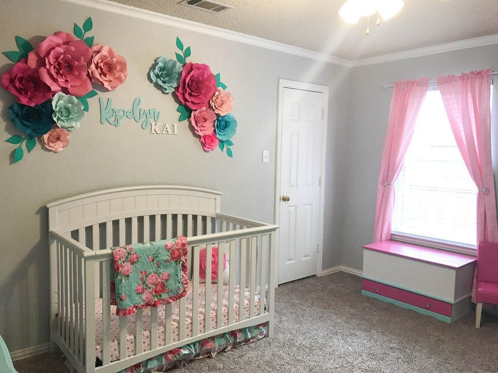 Baby Girl Nursery Wall Decor Ideas Aqua Floral Nursery || Wall Decor Ideas || Paper Flowers || Aqua, Gold,  Pink, White, Rose, Crib Bedding