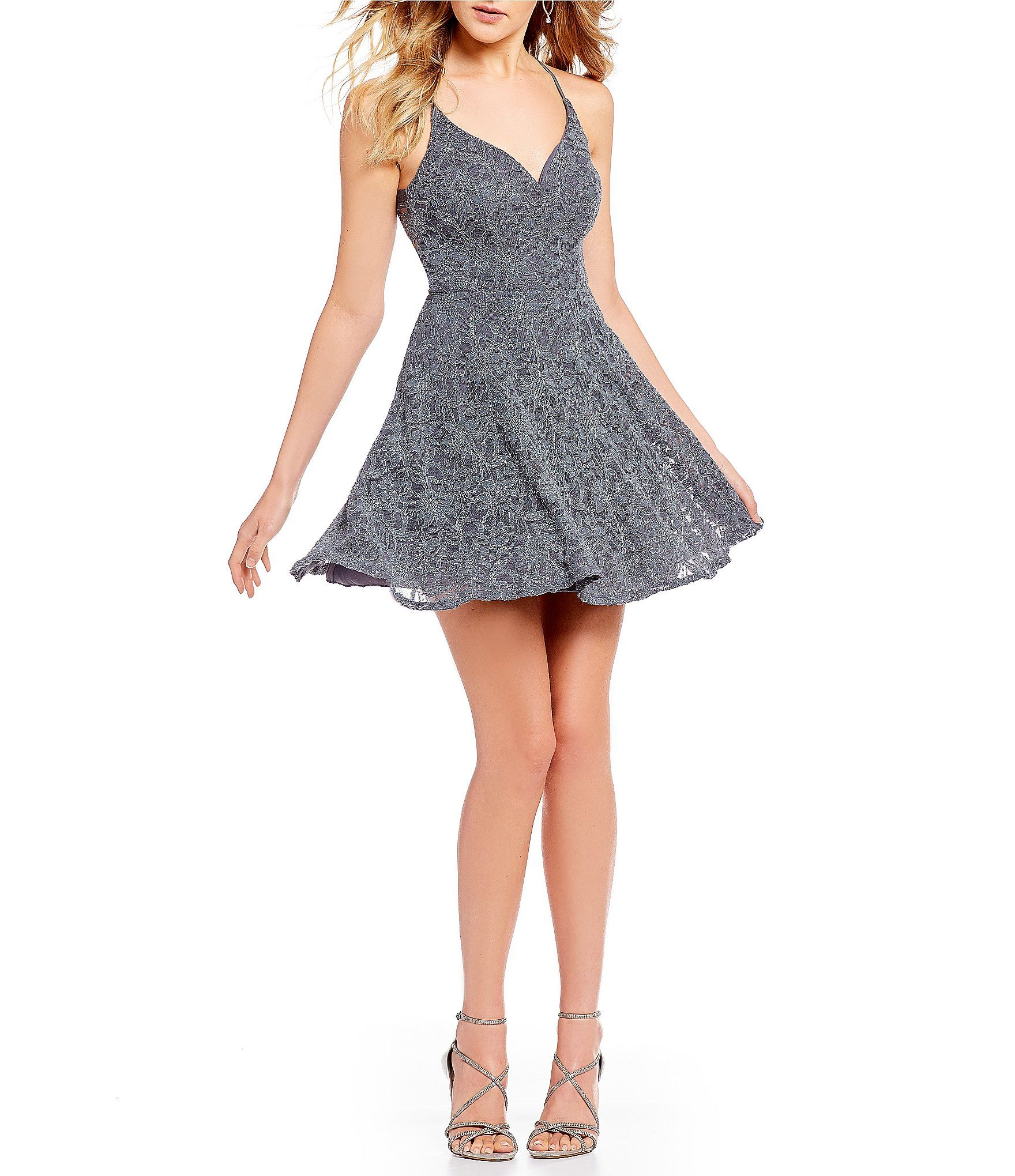 B Darlin V Neck Bra Back Lace Fit And Flare Dress In 2019