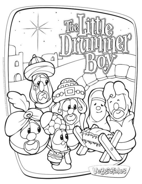 The Little Drummer Boy Printables Coloring Pages For Boys Veggie Tales Christmas Christmas Coloring Pages