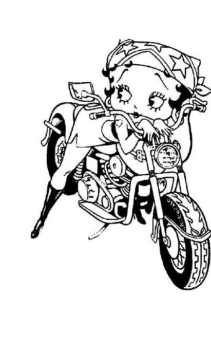 Betty Boop Motorcycle Ride In Style Coloring For Kids | Printables ...