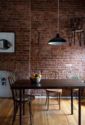 Casa dise o de interiores pared de ladrillos muebles for Muebles con ladrillos