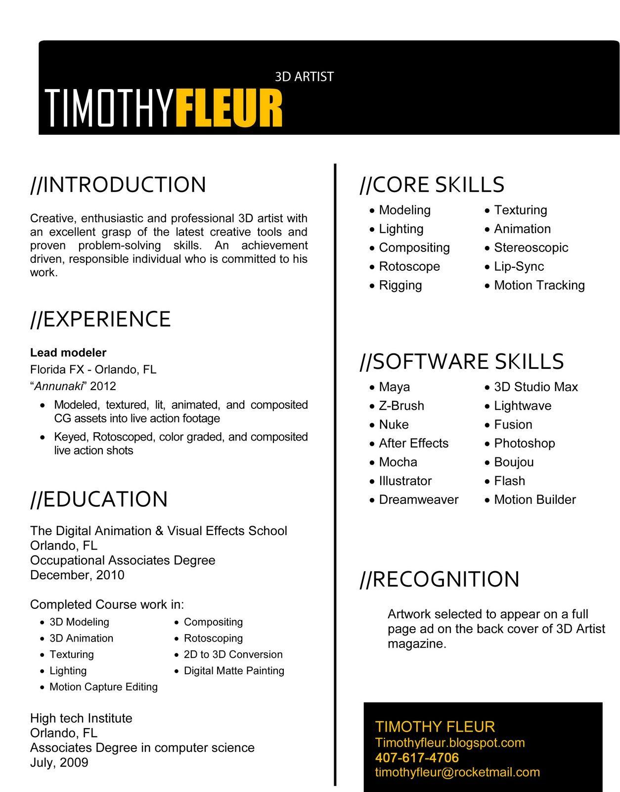 Timothy Fleur 3d Artist Resume Artist Resume Resume Format Resume