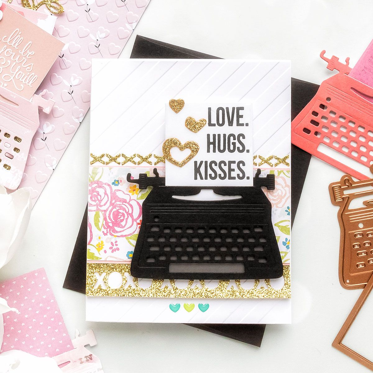 You're My Type - Spellbinders January 2019 Card Kit of the Month Typewriter Die Cards. Love, Hugs, Kisses Card by Yana Smakula for Spellbinders #cardkit