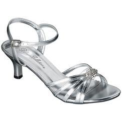 Women's De Blossom Nissa Heeled Slide Sandal -Silver - target bridesmaid shoe option