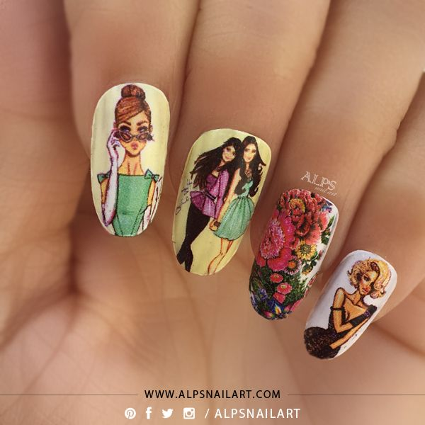 """@alpsnailart - """"I am women..I design my Nails, I design my Dress, I design my Shoes, I design my DESTINY...I am women.."""" Sharing here my women's day nails, Inspired by 4 friends of movie 'S-e-x in the city"""", who inspire me to be Bold and Beautiful, be Confident, be Myself! Dedicated to all my nail friends and all bold and beautiful women I know .. Happy women's day..#alpsnailart #nailartindia #womensday #womensdaynails #womensdaynailart"""
