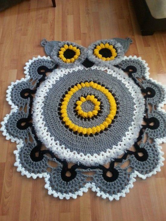 Owl Crochet Rug Pattern All The Cutest Ideas | Tejido, Trapillo y ...