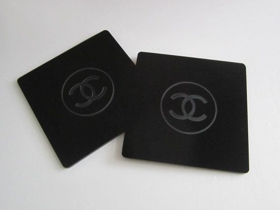 Chanel Cc Logo Black Coaster Cup Mat Vip Limited By Sweeeties 49 99 Black Coasters Chanel Drink Coasters