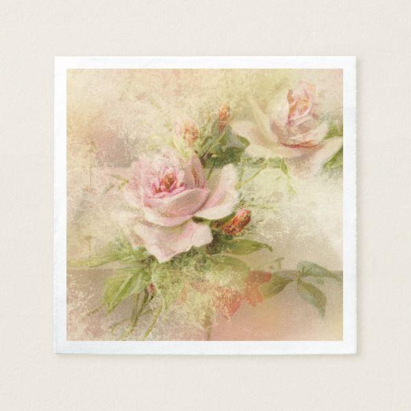 rose pink vintage flower paper napkin