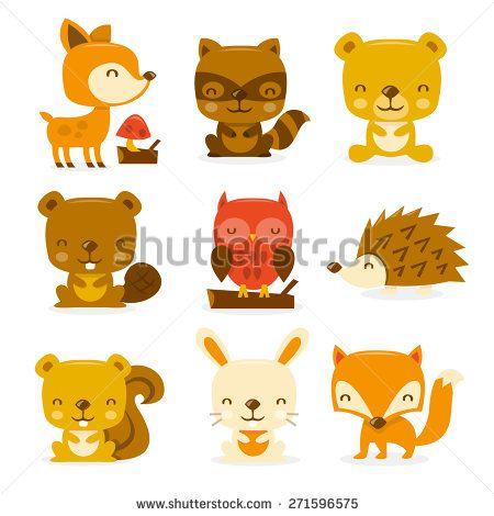 Squirrel Stock Vectors Vector Clip Art Woodland Creatures Cartoon Illustration Woodland Critters