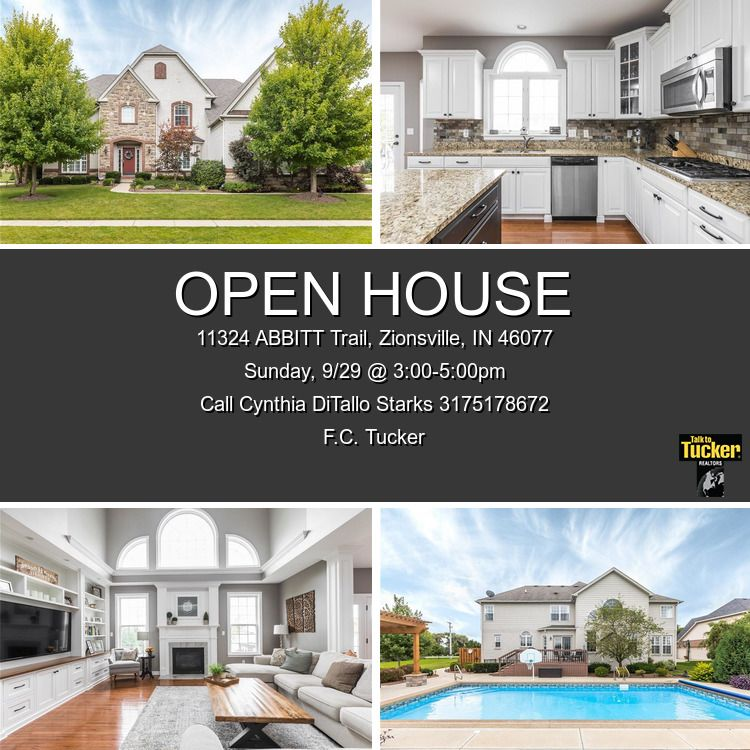 Join Me For My Open House Sunday Sept 29 3 To 5 P M To See This Lovely Home In Zionsville S Brookhaven Community 4 In Ground Pools Open House House Styles