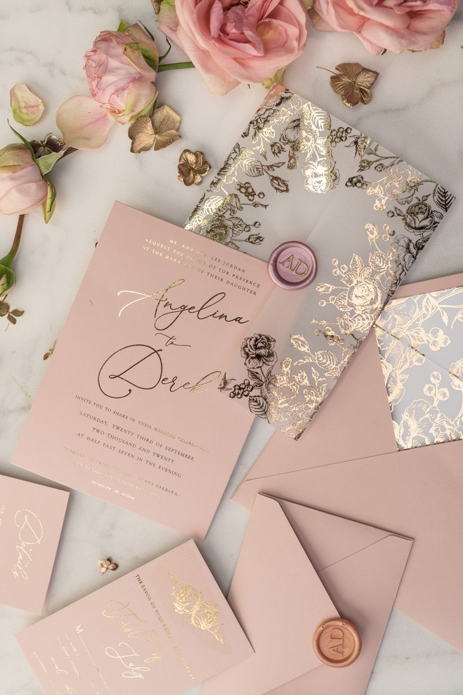 Rose Gold Luxory Wedding Invitations Uk