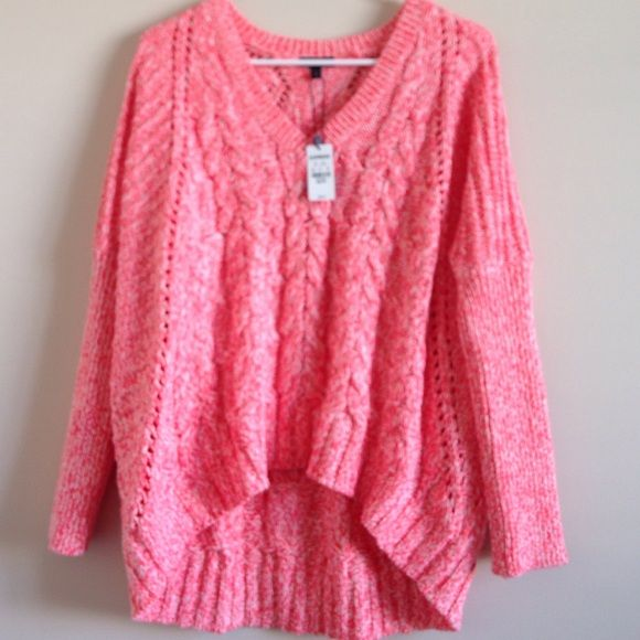 🌺Sale🌺Oversized Neon Marled Dolman Sweater NWT | Coral color