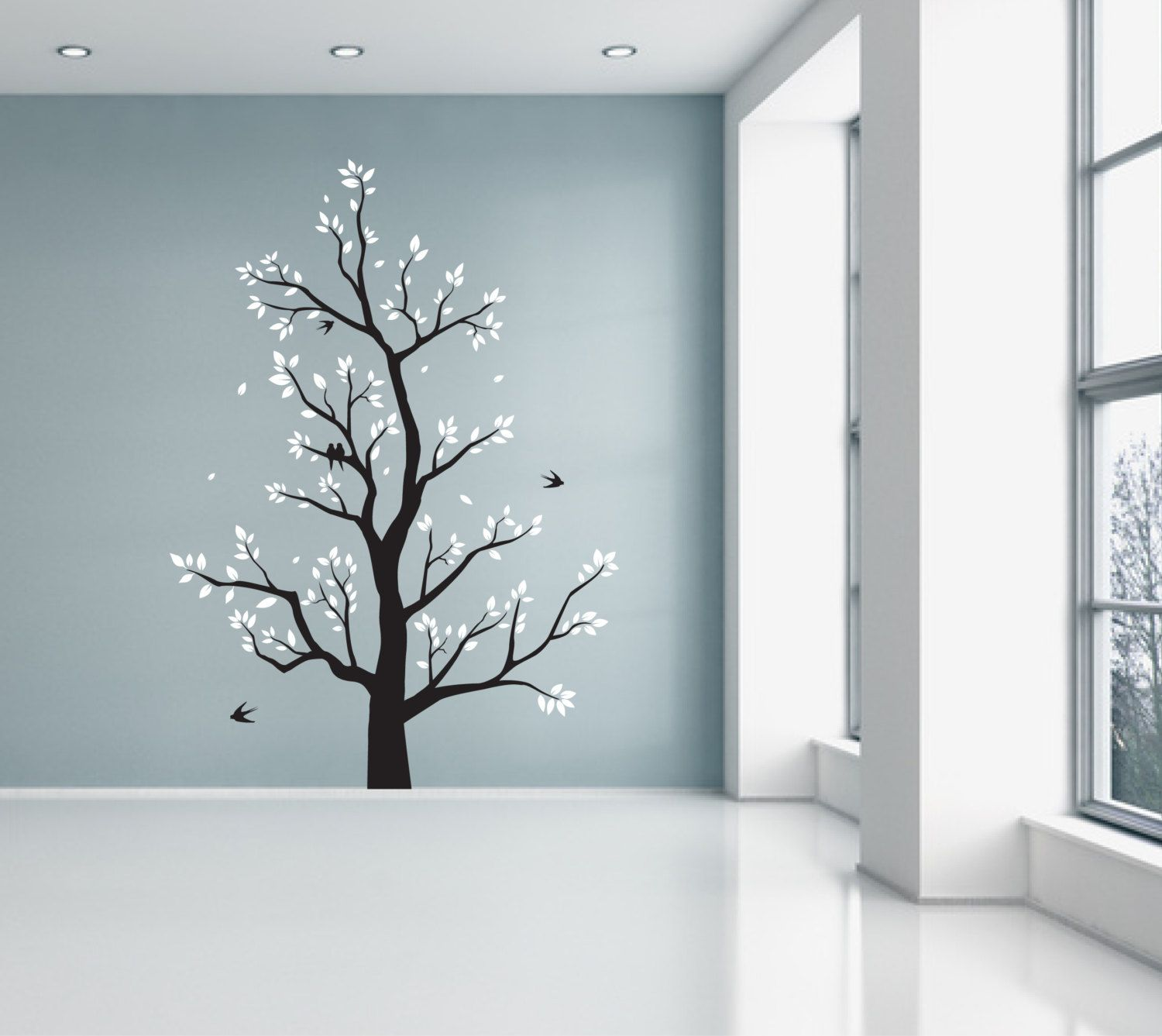 Large tree wall sticker with leaves branches flying birds large tree wall sticker with leaves branches flying birds wall decor decal wall graphic black white grey red falling leaves amipublicfo Image collections