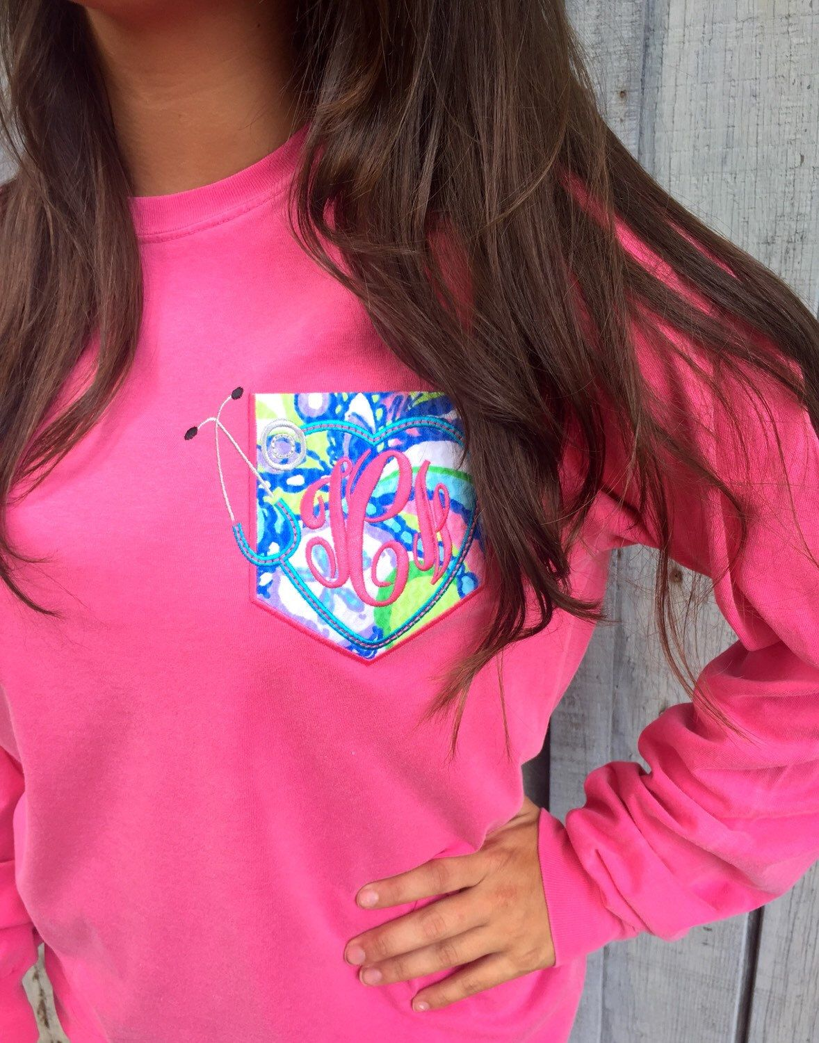 Long Sleeved Comfort Color Nursing t-shirt with Monogram and Lilly Pulitzer Pocket Stethoscope by TantrumEmbroidery on Etsy https://www.etsy.com/listing/244009165/long-sleeved-comfort-color-nursing-t