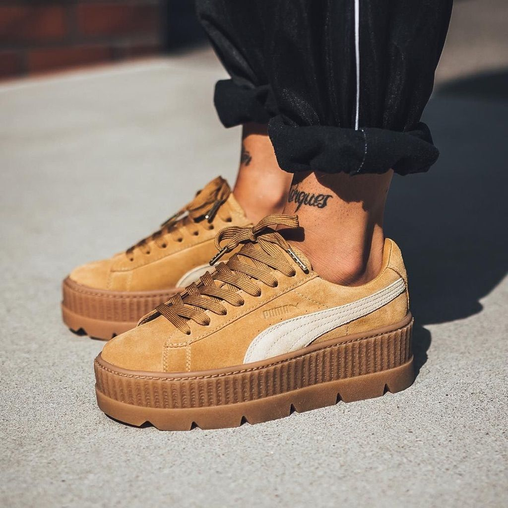 buy online 37170 c4057 Puma Shoes | Fenty Puma Suede Cleated Creepers - Tan | Color ...
