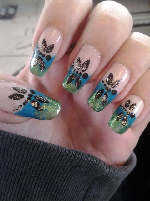 Dragonfly nail art inspired by love4nails on youtube.   Nail art by ...