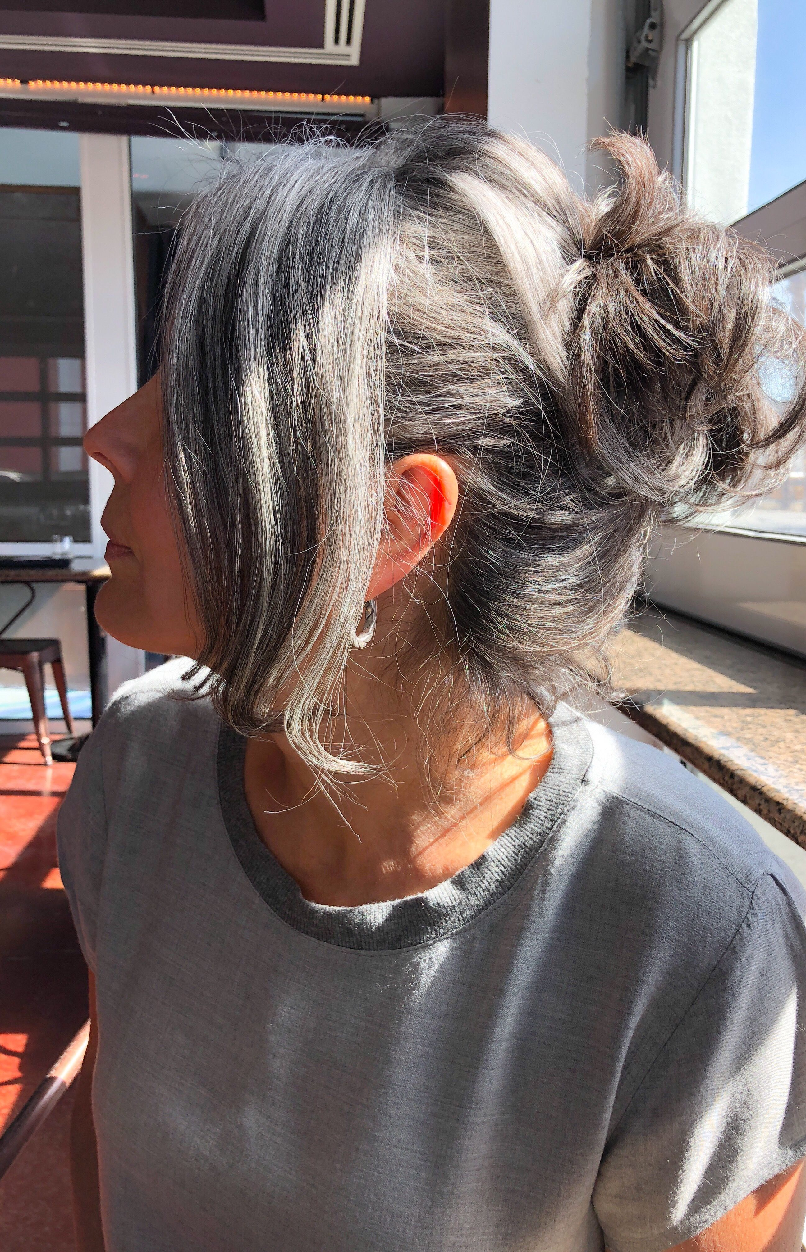 Pin by Matt mallon on Growing out my gray hair | Gray hair growing out,  Long gray hair, Blending gray hair