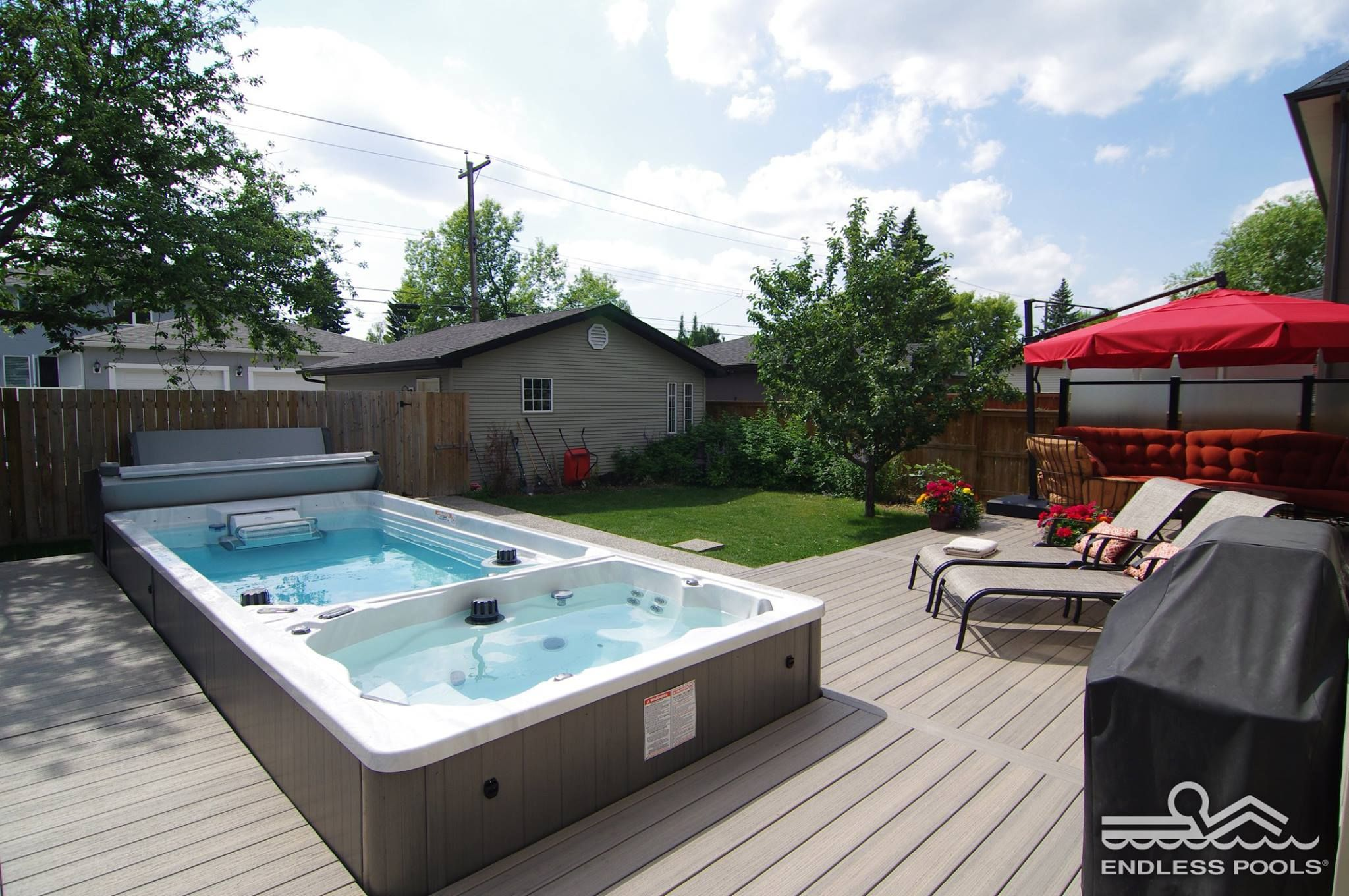 Have some fun with this SWIMSPA! Pool, hot tub, home gym, all in one!  Bringing the backyard experience to a whole new level! Home Gyms -  http://amz