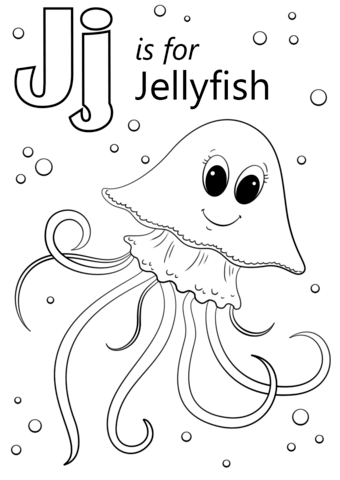Letter J is for Jellyfish coloring page from Letter J