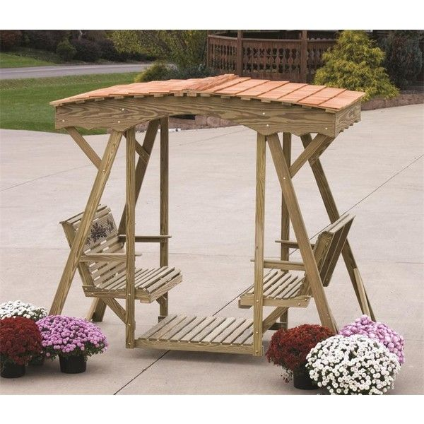Amish Pine Outdoor Rose Double Lawn Glider Bench With Roof Diy Furniture Sliders