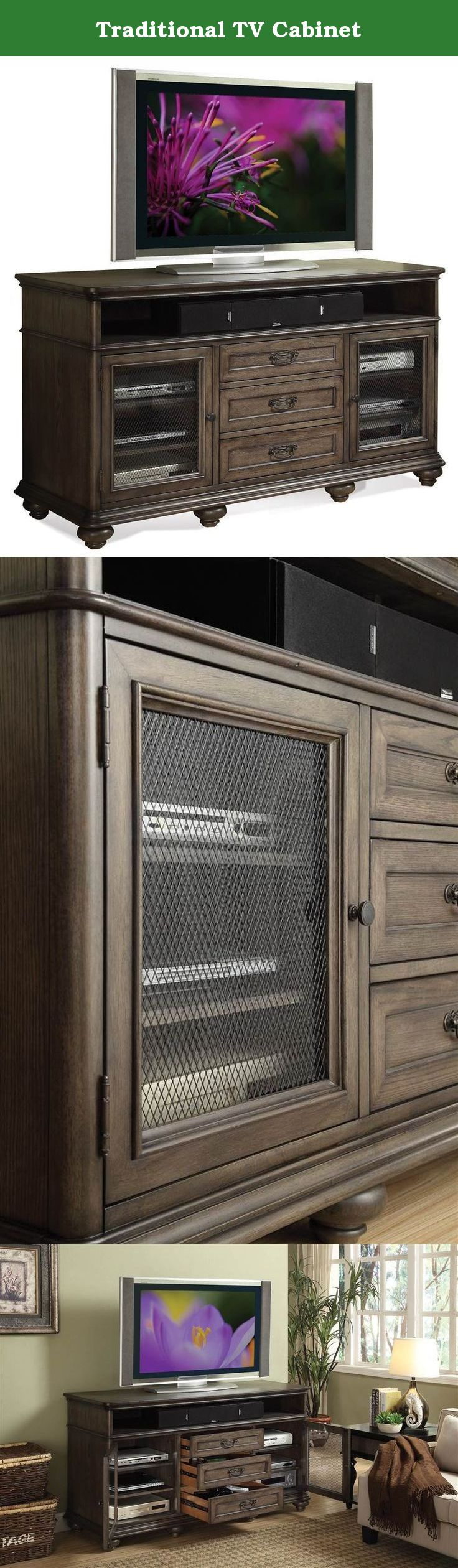 Traditional TV Two top open storage areas. Two