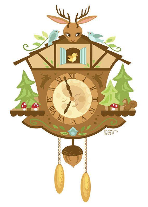 Woodland Cuckoo Clock Hand Embroidery Art Pdf Pattern Download